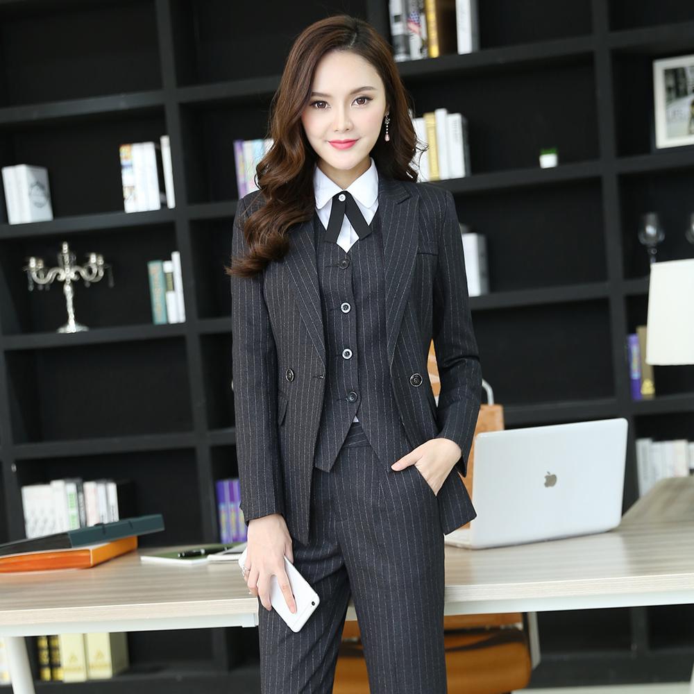 職業裝女套裝經理正裝條紋馬甲工裝長袖西裝酒店前台工作服 裝
