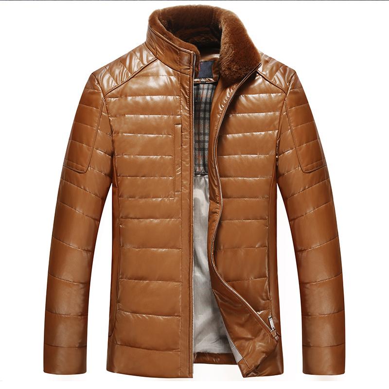 2015 году Haining мужские зимние пальто тонкий ошейник кожа Кожа овчины мягкий вниз куртка мужчин Полушубок
