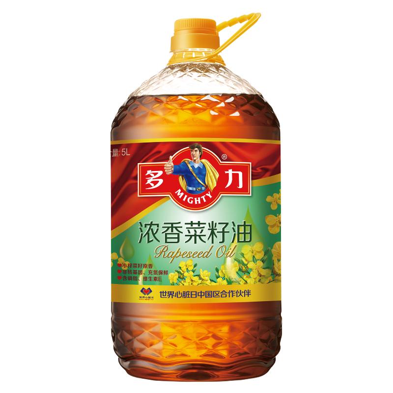 多力 濃香菜籽油 5L 非轉基因 壓榨四級 食用油