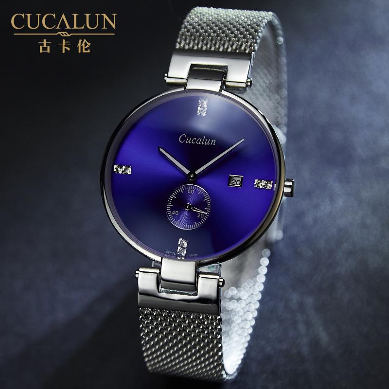 正品藍光手表男超薄米蘭尼斯鋼帶簡約男表夜光防水 潮流石英表