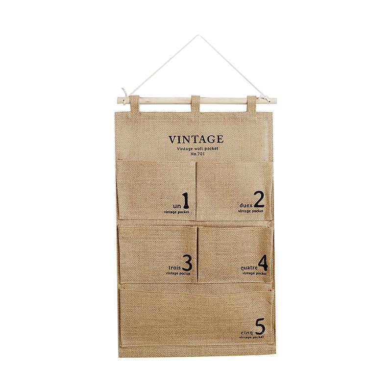包邮麻布棉布帆布多层收纳墙上挂袋 洗漱整理挂件储物防水收纳袋