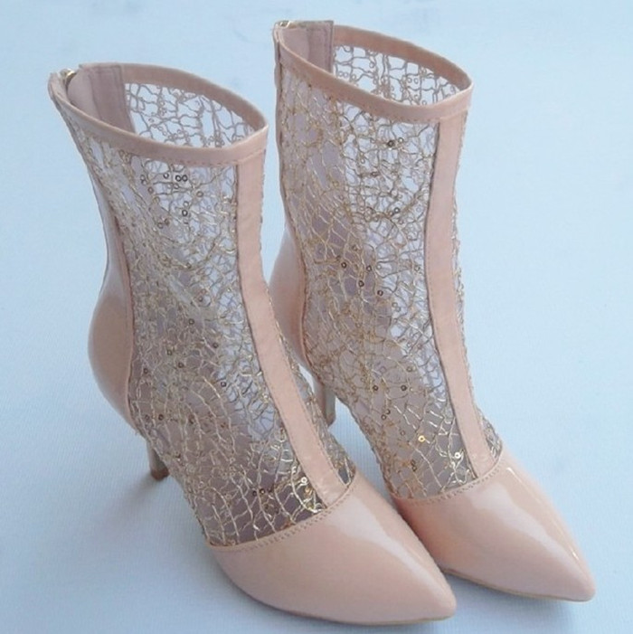 夏季新款蕾丝镂空靴子高跟鞋中筒网靴马丁靴春秋单靴网纱凉靴女靴