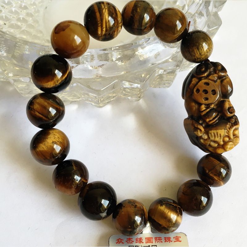 Natural stone gold yellow tigers eye stone hand string tiger fine stone cats Eye Bracelet Jewelry wooden change stone men and womens gift