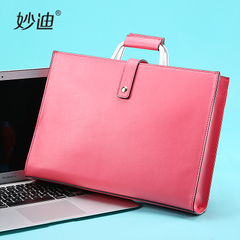 Miao di leather women bag slim professional commuter computer Briefcase bag large capacity single diagonal shoulder bag