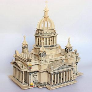 益智3d拼图立体拼图玩具成人拼装木质建筑模型木头积木板拼插城堡