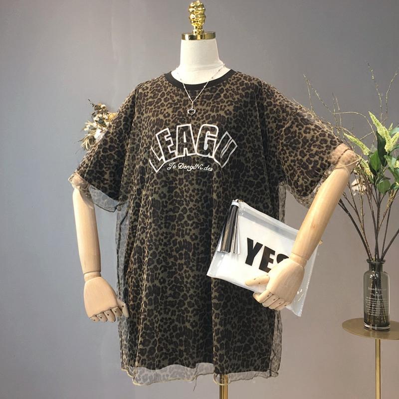 2018夏季新款韩版短袖宽松圆领气质百搭拼接网纱假两件豹纹T恤女
