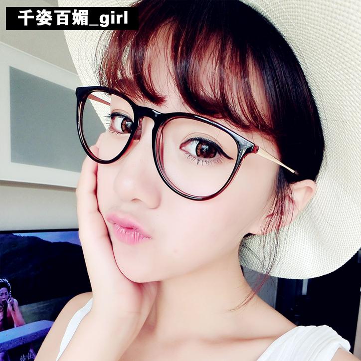 韩版大框眼睛框镜架潮平光镜复古个性眼镜框女士圆脸近视眼镜男款