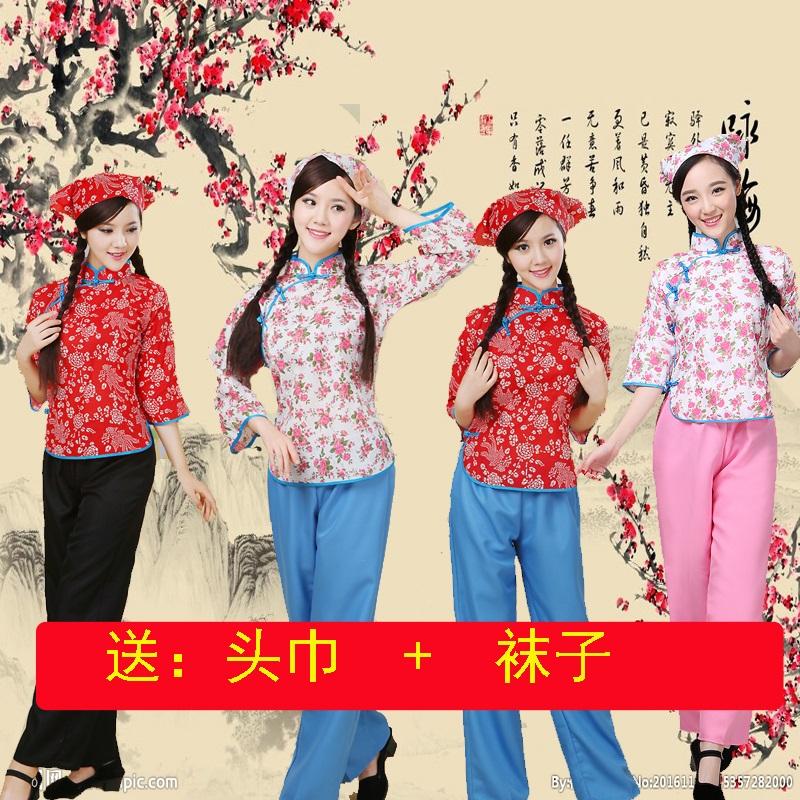 阿庆嫂喜儿演出服村姑采茶女表演服装丫鬟铁梅李奶奶媒婆话剧服装