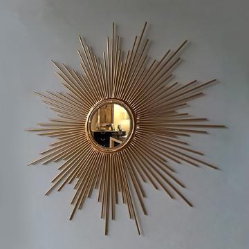 European style iron mirror sunglasses villa hotel bar interior decoration wall hanging sun wall decoration fashion