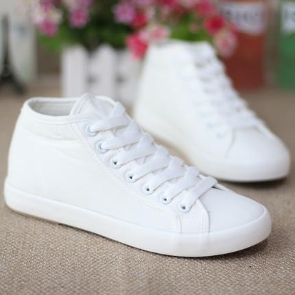 包邮春夏高帮帆布鞋女韩版潮流学生小白鞋板鞋纯色透气女鞋休闲鞋