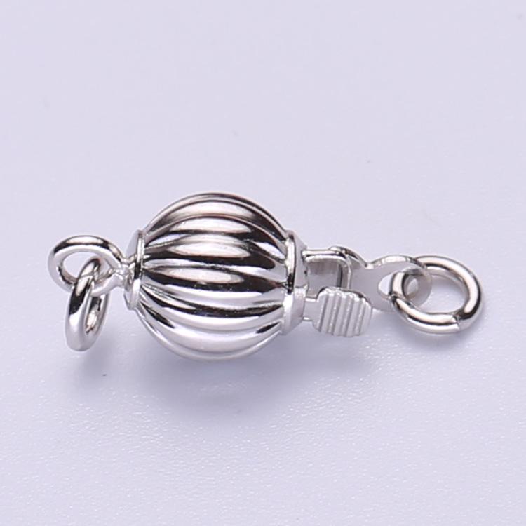 DIY配件灯笼扣西瓜扣 s925银百搭珠宝首饰扣珍珠项链扣手链饰品