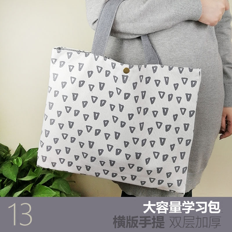 日本男女学生帆布艺便当包带饭复习袋美术包妈咪包大手提拎包 Изображение 1