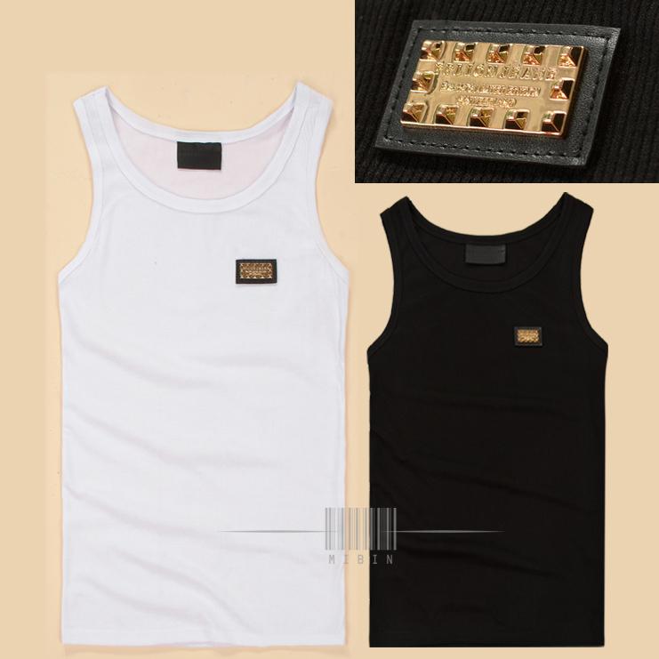 PHILIPP PLEIN хлопок ребристые сплошной черный цвет базы рубашка мужская золотая табличка pp жилет