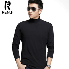 Qiu dong outfit new men half high-necked underwear render unlined upper garment of cotton elastic pure color long sleeve T-shirt men's clothing of cultivate one's morality