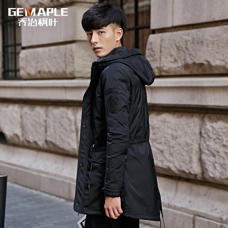 Студенческая молодежь с капюшоном ветровка мужской длинный толстый слой тонкий черный Корейский волна носить зимние пальто мужчин