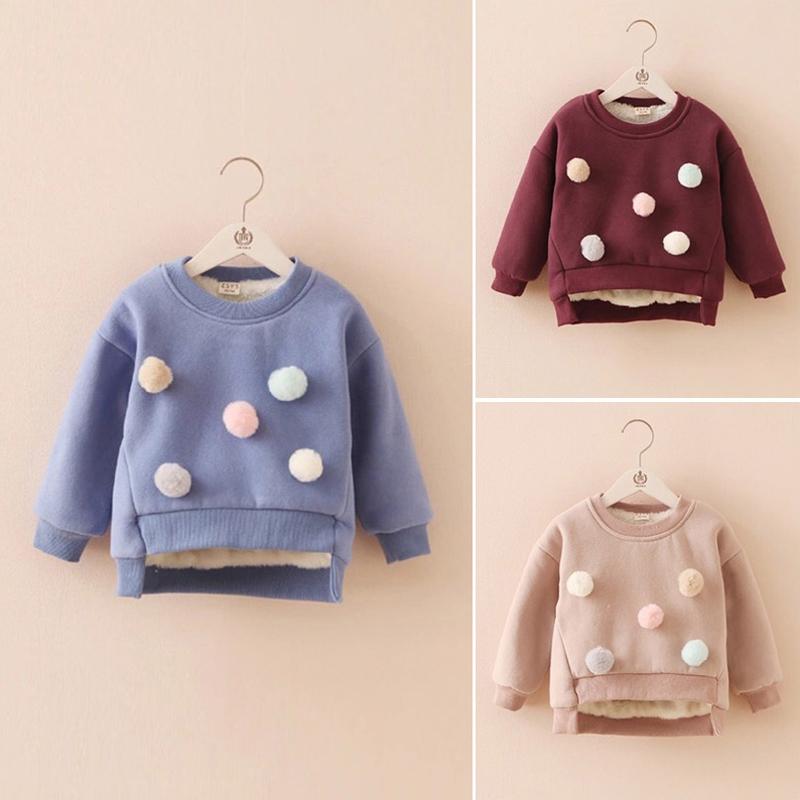 Каждый день специальное предложение 2017 зима девочки пиджак плюс утолщённый с дополнительным слоем пуха сохраняющий тепло свитер корейский хеджирование рубашка ребенок одежда волна