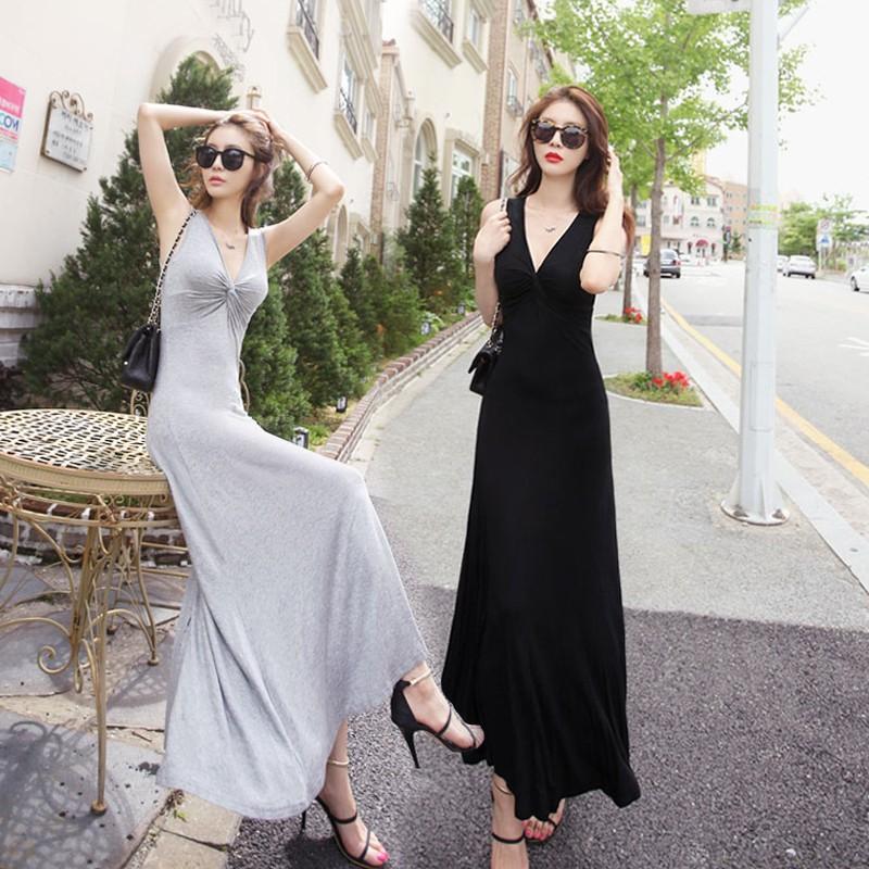 韩版夏季莫代尔修身大摆裙小连衣裙