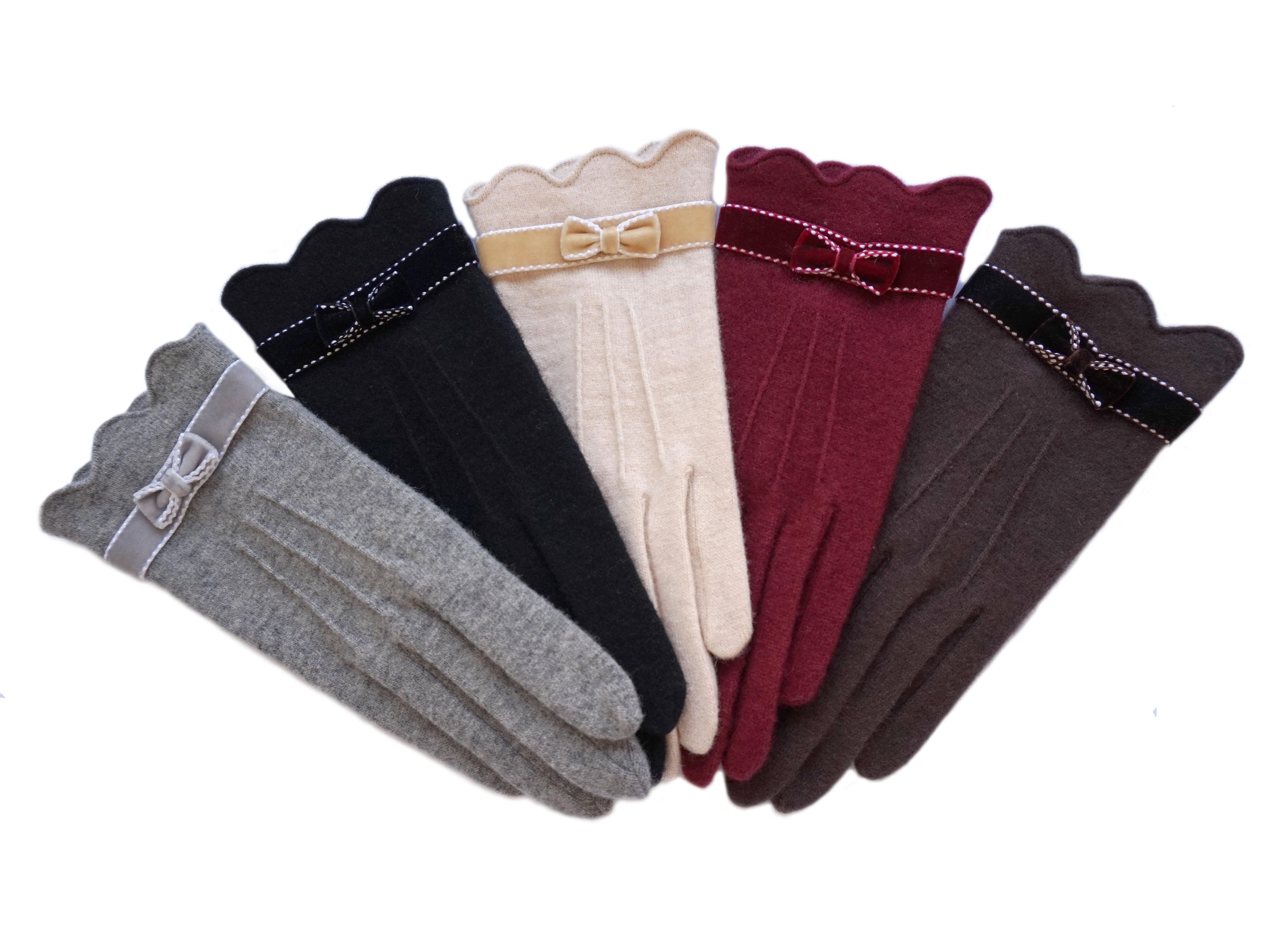 克拉斯卡-新款女士秋冬羊毛羊绒可触屏手机 绒带蝴蝶结时尚保暖