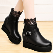 Increased shield Fox fall 2015 designer shoes flat thick-soled platform shoes short boots lace in Europe and America Martin boots women's boots
