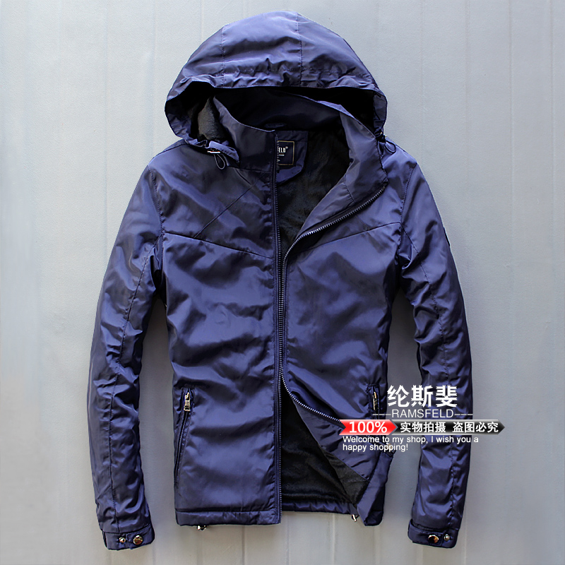 Winter new mens Outerwear outdoor windproof youth Plush thickened Hooded Jacket casual large sports cotton