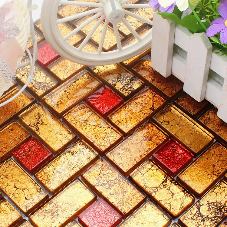 背景墙拼图拼花 回字形马赛克 红色瓷砖 玻璃镜面玛塞克 室内装修