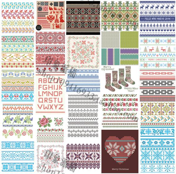 矢量设计素材 彩色民族风刺绣十字绣图案像素圣诞快乐 EPS格式25P