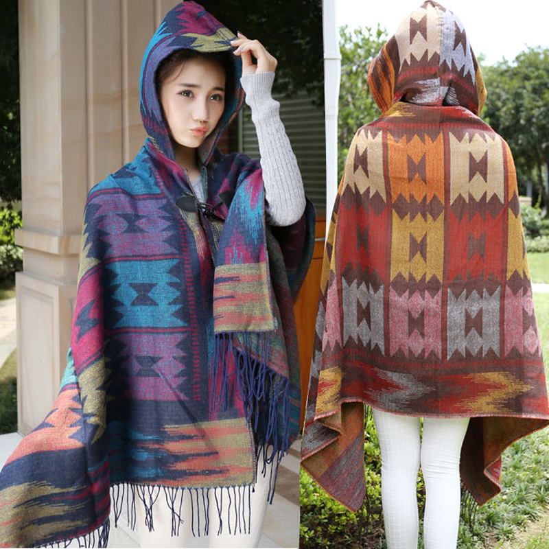 Korean version new travel ethnic wind hat hooded air conditioning room warm Cape multi functional Cape cape coat