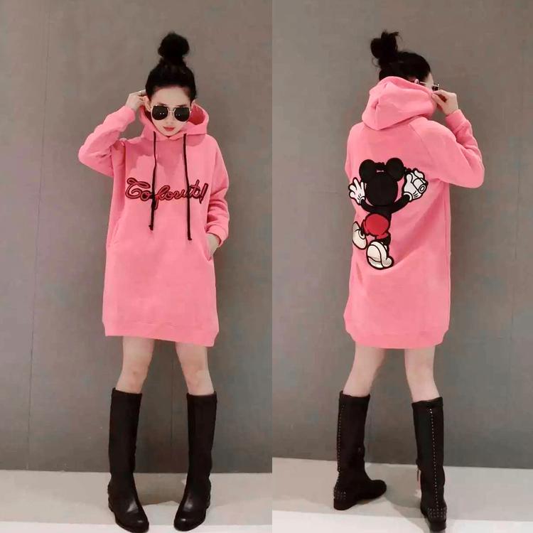 Корейская версия 2015 осень/зима новый мода плюс размер добавить velvet мягкий Рукав охранник платье с капюшоном длинный свитер женщин