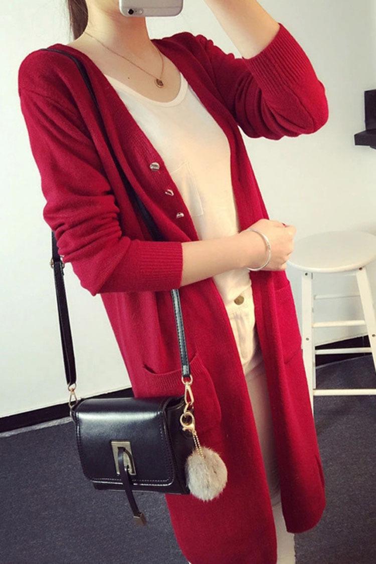 Долго свитер пальто Кардиган в осенние 2016 новой корейской версии легко похудения сплошной цвет вязать рубашка вне девушка