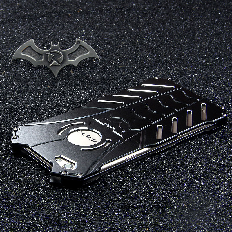 R-Just Batman Shockproof Aluminum Shell Metal Case with Custom Stent for OPPO R9s Plus & OPPO R9s