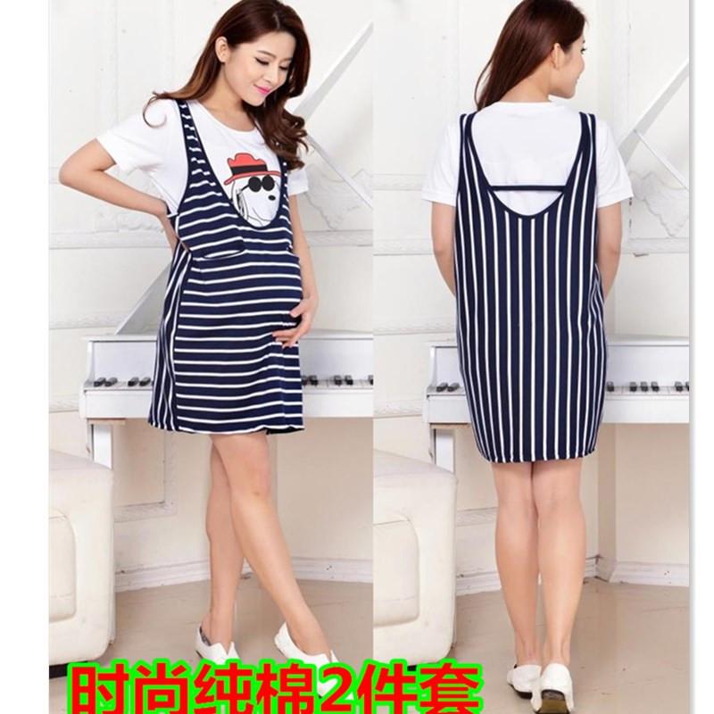 T-летний корейский хлопка платья для беременных женщин беременных женщин беременных женщин полосатый короткие два куска отдыха свободные юбка