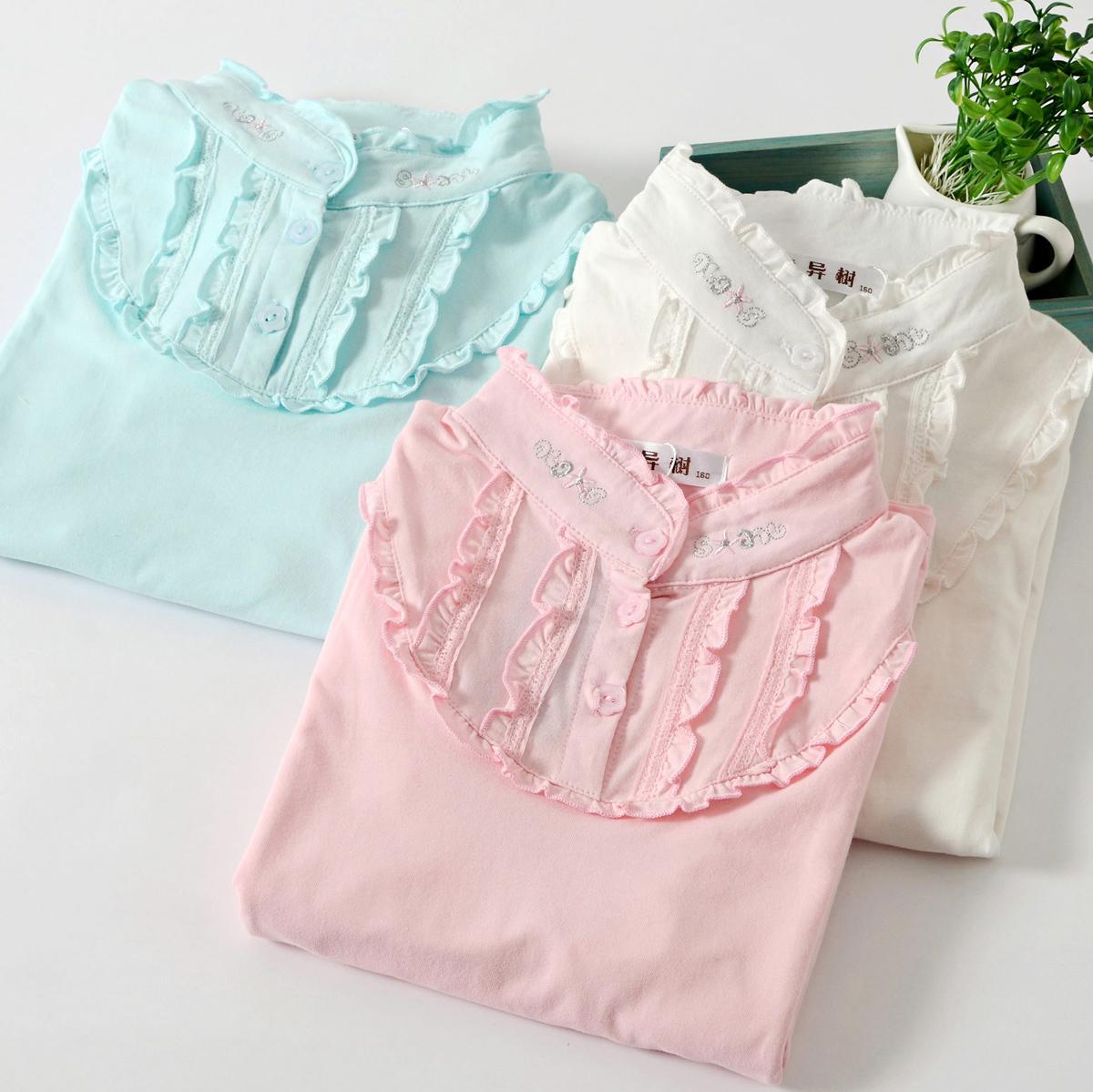 Дети детей Детская одежда девушки длинные рукава t осень 2015 новый Хлопок просиданию рубашка воротник упругой корейской версии