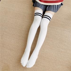 日系春秋过膝袜二杠条纹长筒袜子女堆堆袜套大腿袜纯棉显瘦高筒袜