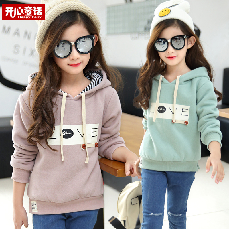 Дети носить свитер девочек осень/зима в 2016 году новые дети девушки с капюшоном Пальто и пальто хлопка мягкий