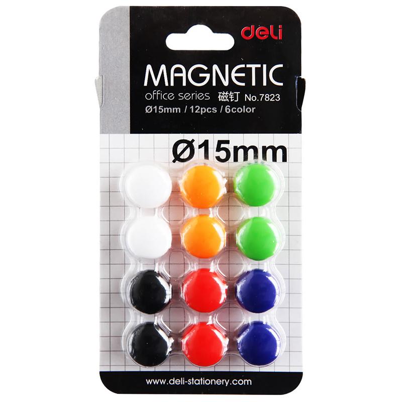 得力7823磁钉吸铁石 白板磁力 白板磁珠磁石磁扣 15mm 12颗/卡