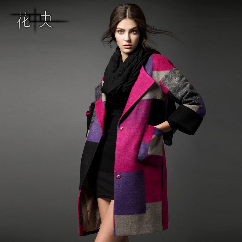 花中央秋冬新款女装格子毛呢外套呢子大衣女秋装外套羊毛大衣