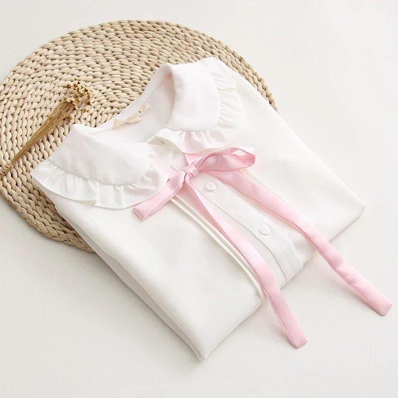 森女可爱娃娃领甜美蝴蝶结长袖衬衫学生日系少女衬衣可爱女装