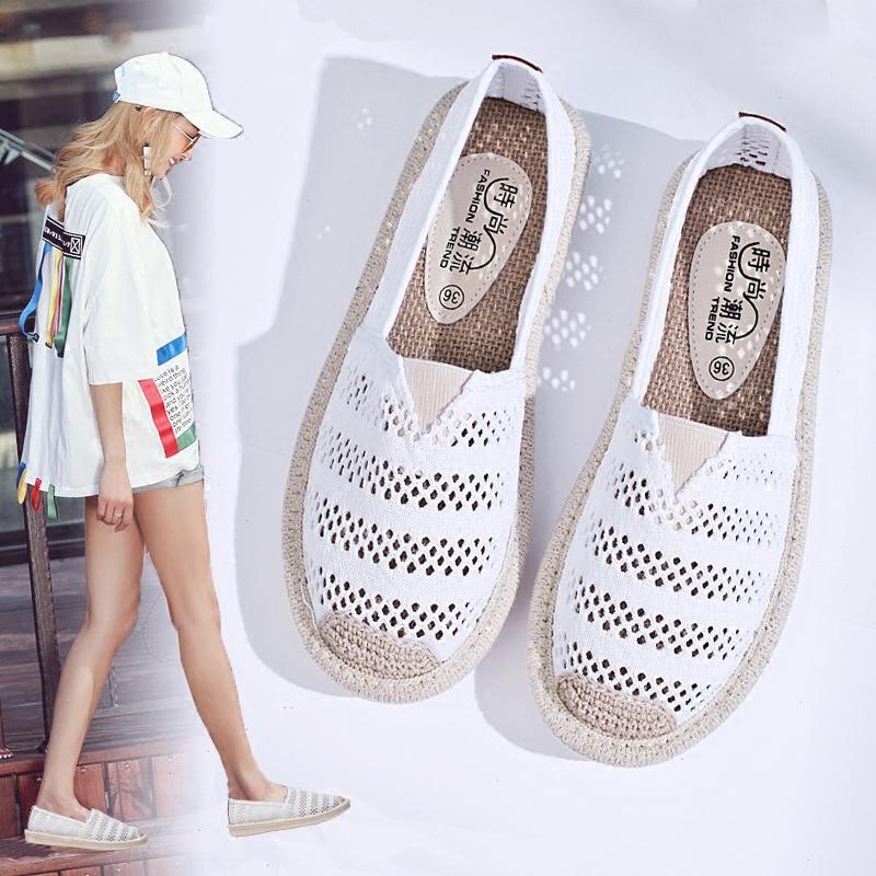 夏季一�_蹬�腥�O夫鞋女帆布透�忡U空小白鞋子百搭平底老北京布鞋
