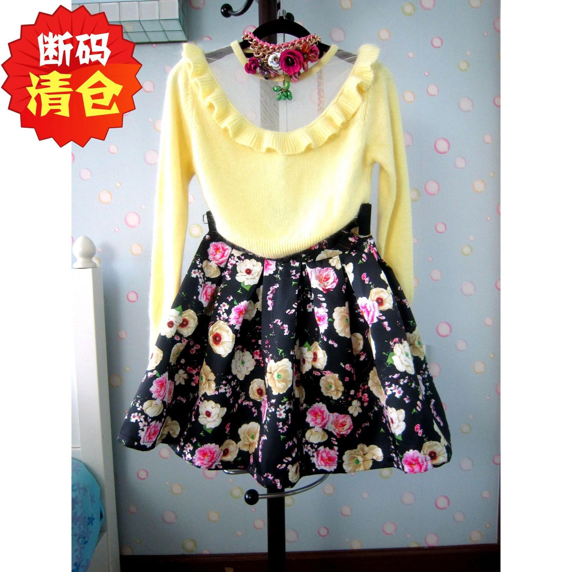 特价夏装新款花朵复古高腰蓬蓬裙中长裙a字大摆伞裙半身裙女装