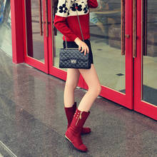 Increase height within 2015 new winter leisure shoes for women's shoes boots with personality rivets drawing round head female short boots