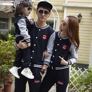 优宝优贝新款亲子装秋冬装一家三口母子母女棒球服套装韩版