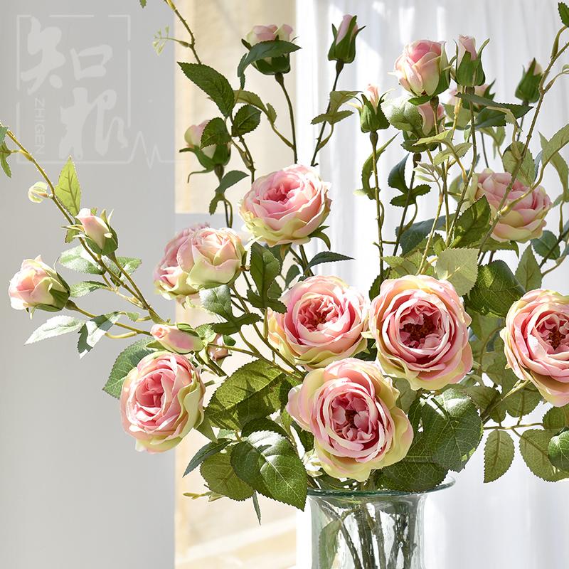 知根 家居飾品餐桌擺放花卉 仿真花極樂玫瑰假花客廳落地裝飾花