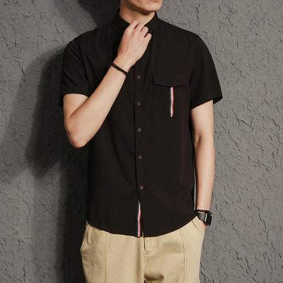 电商A041韩版短袖衬衫潮流修身衬衣日系风大码男1877P45