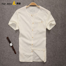 Thin cotton shirt Men's tee shirt style of cultivate one's morality leisure men's summer wear breathable linen coat
