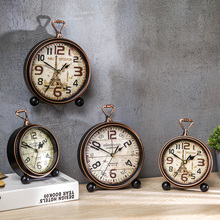 Shylock Retro Clock Pendulum Old European Clock Living Room Desktop Clock Table Clock Antique Wall Clock Small Alarm Clock