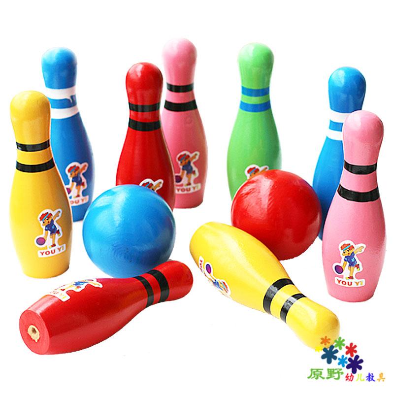 Ребенок деревянный боулинг младенец фитнес мяч ребенок движение мяч головоломка игрушка деревянный смысл система обучение игрушка