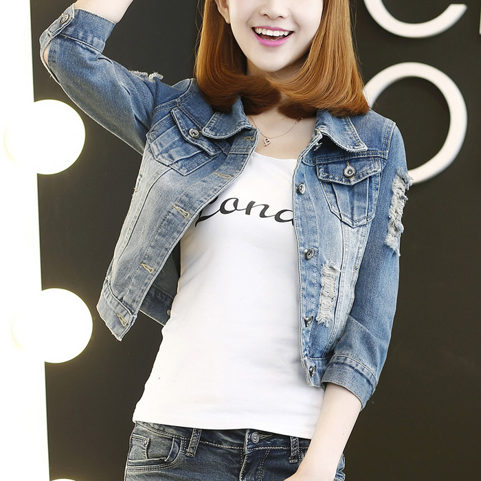 Spring and autumn denim coat womens summer 7-point long sleeve short Korean top slim and versatile