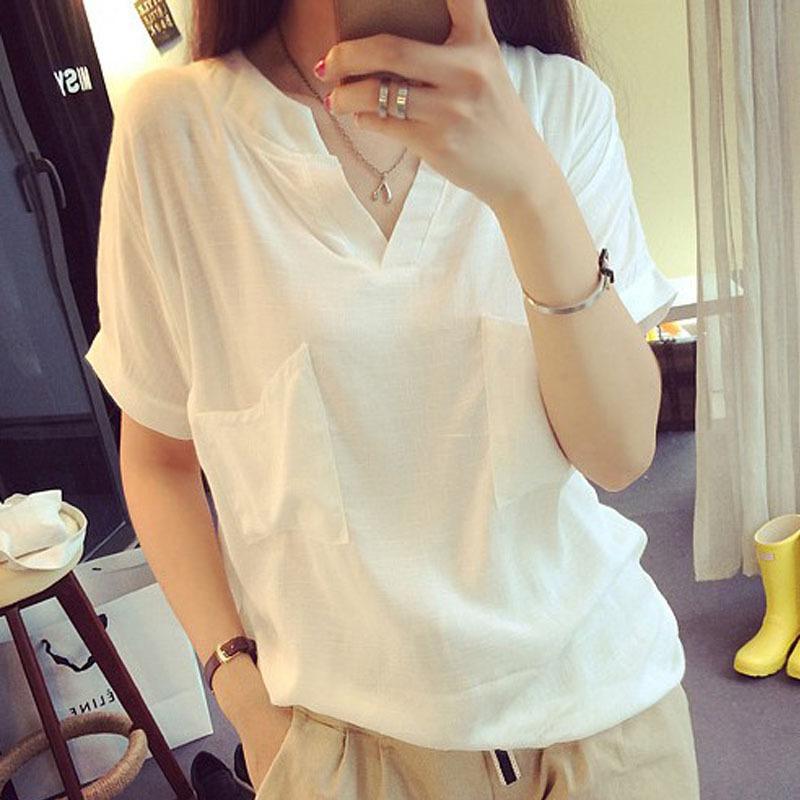 2017夏季棉麻衬衫短袖亚麻女装上衣布衣宽松麻料衬衣全白色t恤女