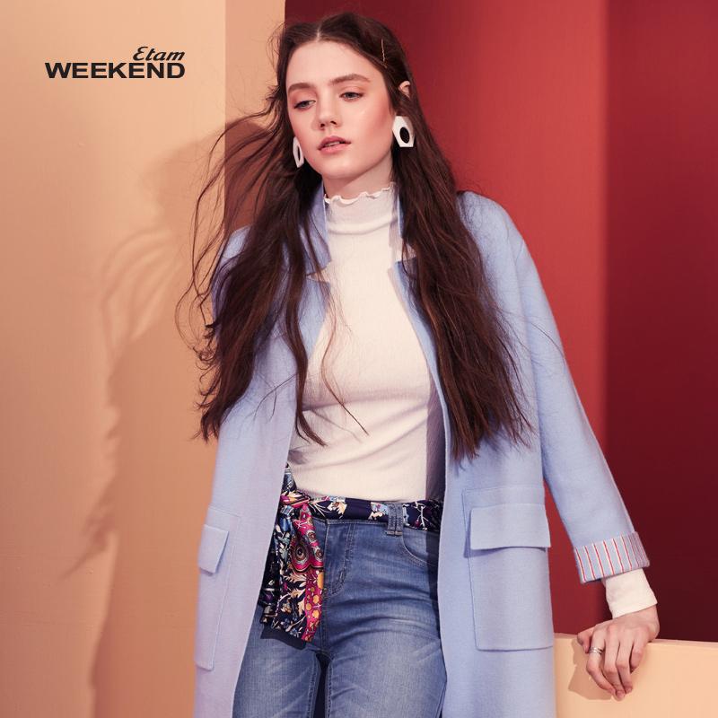 艾格Weekend 2017 新品知性典雅純色翻領針織衫女170216000