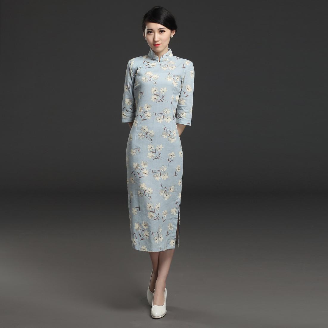 Ретро тонкий мода улучшение тонкий длинная модель cheongsam платье ежедневно cheongsam юбка летний костюм 2017 новый большой код